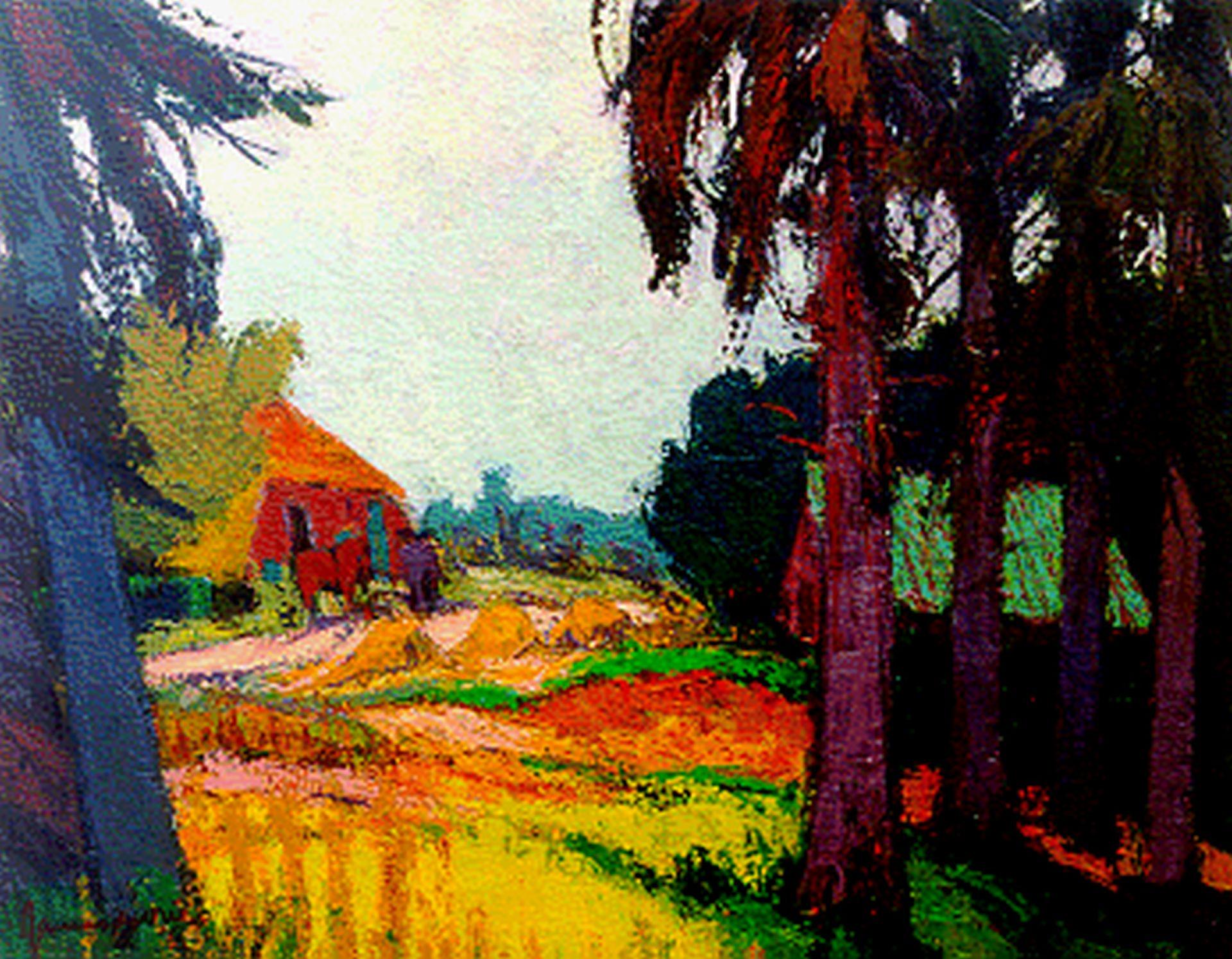 Vries J. de - Boerderij, olieverf op doek 70,6 x 90,5 cm, gesigneerd l.o. en gedateerd '63