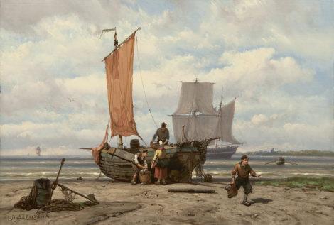 Koekkoek J.H.B. - Het uitladen van de vangst, olieverf op paneel 23,5 x 34,3 cm, gesigneerd l.o.