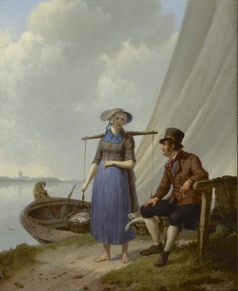 Koekkoek J.H. - Een praatje langs de oever, olieverf op paneel 33,1 x 26,9 cm, gesigneerd l.v.h.m. en gedateerd 1834