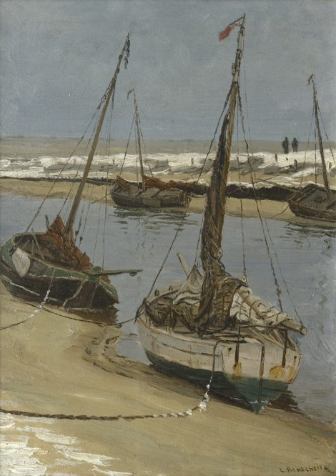 Berkemeier L.G.J. - De Uitwatering in Katwijk aan Zee bij eb, olieverf op paneel 35,5 x 25,1 cm, gesigneerd r.o.