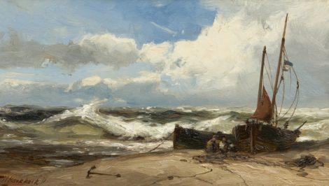 Koekkoek jr. H. - Netten repareren bij stormachtig weer, olieverf op paneel 18,8 x 33 cm, gesigneerd l.o.