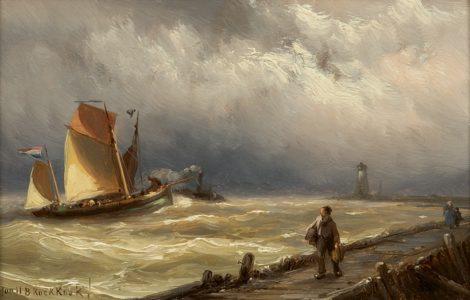 Koekkoek J.H.B. - Het binnenvaren van de haven, olieverf op paneel 12,2 x 18,4 cm, gesigneerd l.o. en verso gedateerd 1889
