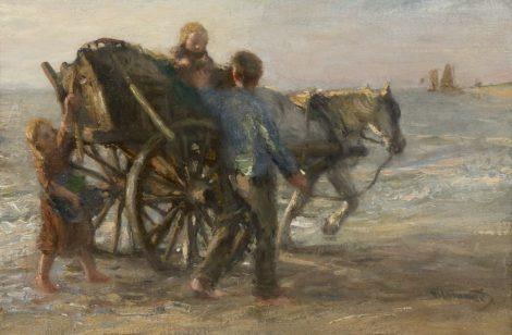 Blommers B.J. - Schelpenvisser met zijn kinderen op het strand, olieverf op doek 28,3 x 42 cm, gesigneerd r.o.