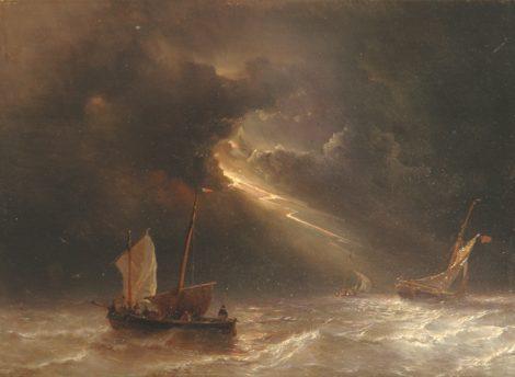 Meijer J.H.L. - Onweer op volle zee, olieverf op paneel 30,6 x 42 cm, gesigneerd l.o.