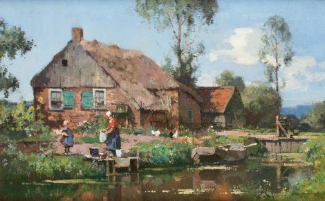 Vreedenburgh C. - Boerin op de wasvlonder, olieverf op doek 37,5 x 60,8 cm, gesigneerd r.o.