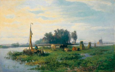 Mauve A. - Boer met schuit bij een melkbocht, olieverf op doek 40,5 x 64 cm, gesigneerd r.o. en te dateren ca. 1870