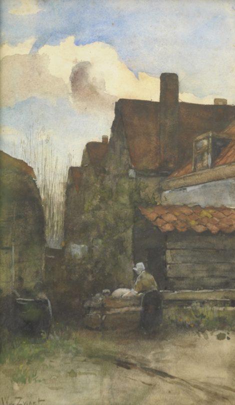 Zwart W.H.P.J. de - Boerin voert het varken, aquarel op papier 36,3 x 21,6 cm, gesigneerd l.o.