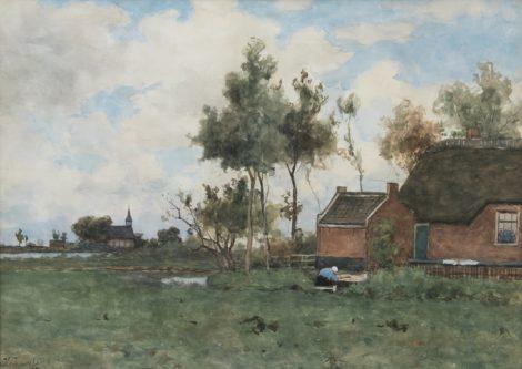 Bauffe V. - Boerenerf bij Noorden, aquarel op papier 46,9 x 65,2 cm, gesigneerd l.o.