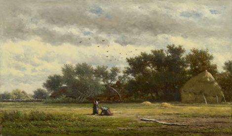 Roelofs W. - Achter de boerderij, olieverf op paneel 22,1 x 37,7 cm, gesigneerd r.o. en te dateren ca. 1855-1860