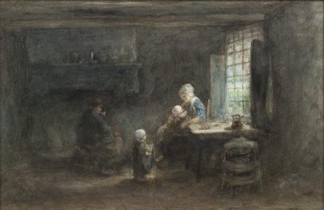 Israëls J. - Het jonge gezin, pastel en aquarel op papier 35,3 x 53,5 cm, gesigneerd l.o.