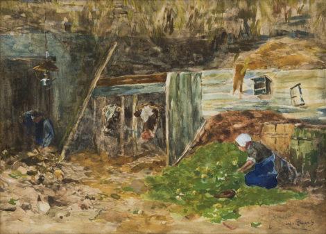 Zwart W.H.P.J. de - Koeien voeren op de deel, aquarel op papier 25,3 x 35 cm, gesigneerd r.o.