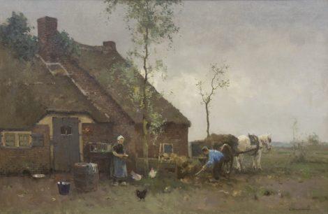 Vreedenburgh C. - Op het boerenerf, olieverf op doek 58,4 x 89 cm, gesigneerd r.o.