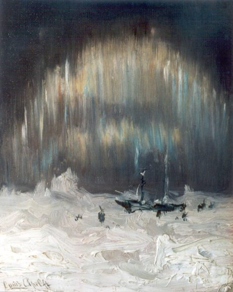 Apol L.F.H. - Noorderlicht bij Nova Zembla, olieverf op paneel 20 x 16,1 cm, gesigneerd l.o.