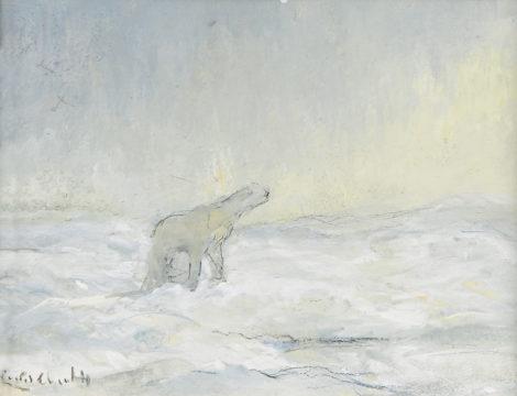 Apol L.F.H. - IJsbeer op de Noordpool, gouache op papier 10,9 x 14,3 cm, gesigneerd l.o. en te dateren 1935-1936