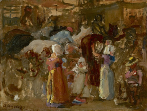 Hijner A. - Paardenmarkt, Zeeland, olieverf op schildersboard 30,2 x 40,1 cm, gesigneerd l.o.