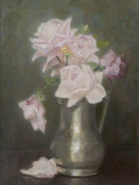 Wandscheer M.W. - Rozen in tinnen vaas, olieverf op doek 41,5 x 31,4 cm, gesigneerd r.o. en op spieraam