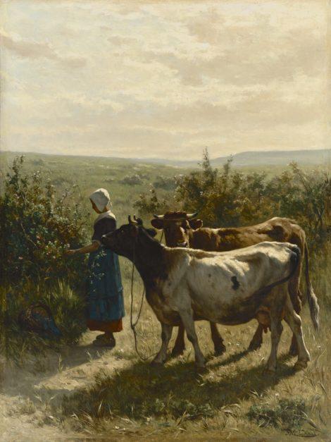 Haas J.H.L. de - Jonge herderin met haar koeien, olieverf op doek 88,3 x 66,6 cm, gesigneerd r.o.