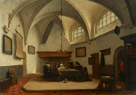 Schenkel J.J. - Schepenen bijeen in de consistoriekamer van de Grote Kerk, Breda, olieverf op paneel 39,4 x 55,8 cm , gesigneerd r.o.