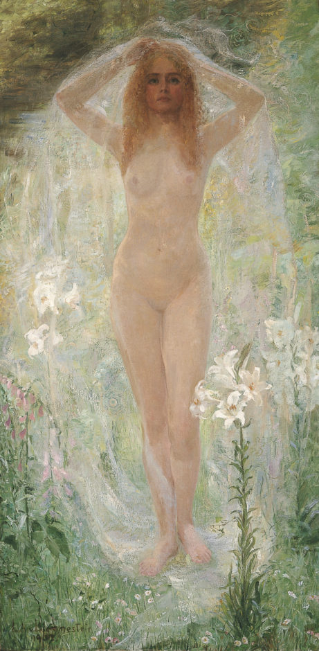Blommestein L.A.A. van - Staand naakt met witte lelies, olieverf op doek 160,7 x 80,3 cm, gesigneerd l.o. en gedateerd 1907