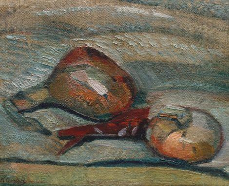Kruyder H.J. - Stilleven met uien, olieverf op doek op paneel 21 x 26 cm, gesigneerd l.o.