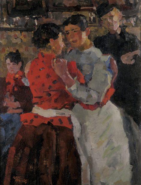 Israels I.L. - Dansende vrouwen, Amsterdam, olieverf op doek 97,5 x 74,5 cm, gesigneerd l.o. en te dateren ca. 1892-1897