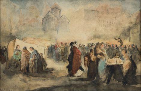 Breitner G.H. - Avondmarkt, potlood, inkt en aquarel op papier 24 x 36,5 cm, gesigneerd l.o. en te dateren ca. 1880-1884