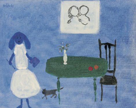 Roëde J. - La femme peintre, olieverf op doek 46,5 x 61,5 cm, gesigneerd l.b. en gedateerd '65