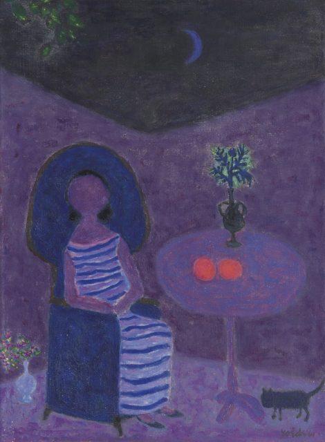 Roëde J. - Zittende vrouw in stoel bij tafel, olieverf op doek 61 x 45 cm, gesigneerd r.o. en gedateerd '61