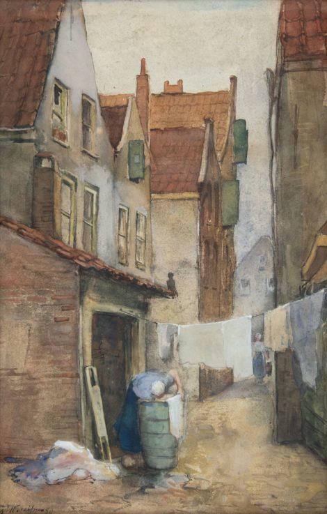 Breitner G.H. - Rotterdams steegje met wasvrouw, aquarel op papier 39,1 x 25,7 cm, gesigneerd l.o. en gedateerd '80