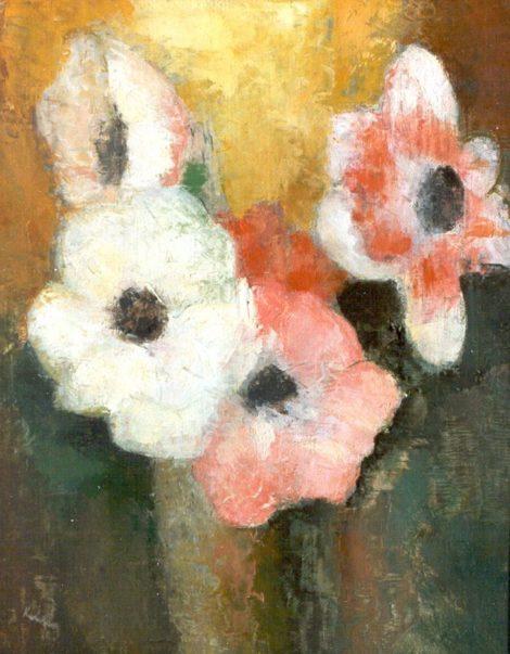 Kelder A.B. - Stilleven met bloemen, olieverf op doek op schildersboard 31,5 x 25 cm, gesigneerd l.o.