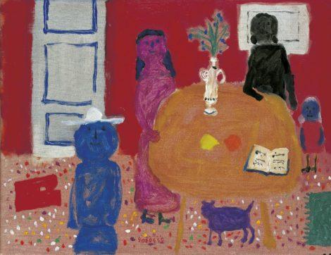 Roëde J. - De eerste muziekles, olieverf op doek 47,2 x 60,7 cm, gesigneerd m.o. en gedateerd '59