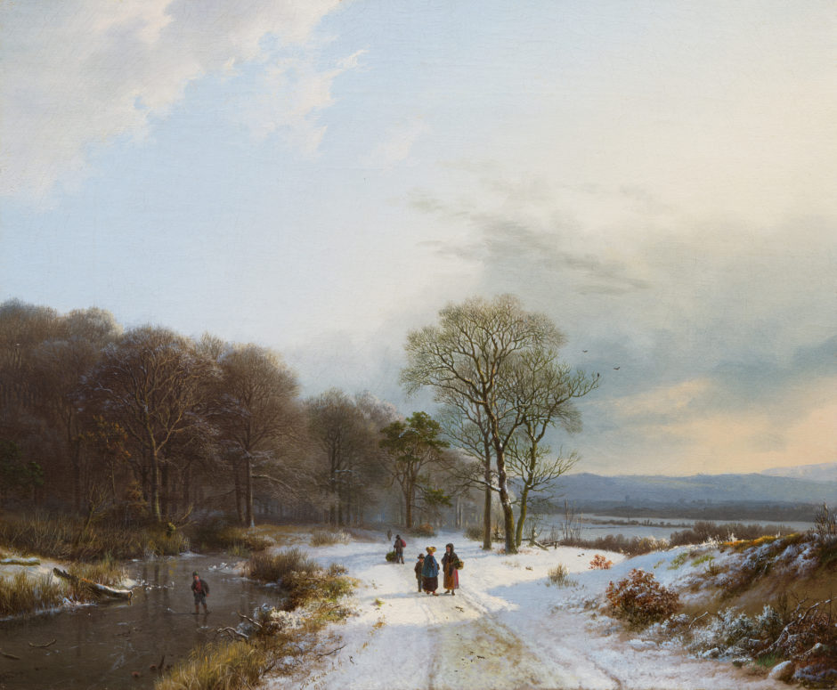 Winters boslandschap, olieverf op doek geschilderd door Barend Cornelis Koekkoek (1803-1862)