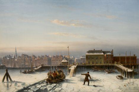 Leickert C.H.J. - De hachelijke oversteek over het IJ bij Amsterdam, olieverf op doek 102 x 150 cm , r.o. en gedateerd '70
