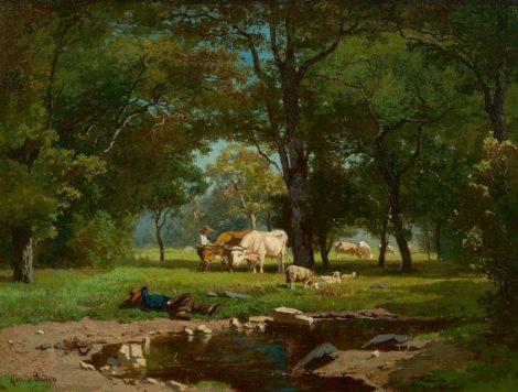 Bilders A.G. - Herders met vee bij een bosbeek, olieverf op doek 31 x 41,2 cm , l.o. en te dateren begin jaren 1860