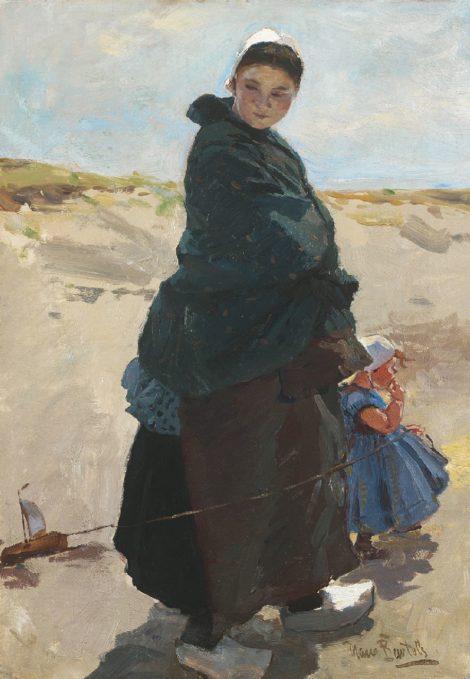Hans von Bartels - Mijmering: vissersvrouw met kind op het strand van Katwijk, olieverf op doek 47,6 x 33,3 cm, gesigneerd rechtsonder