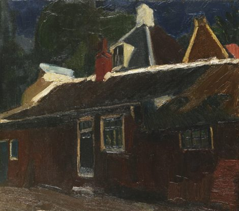 Piet van Wijngaerdt - Huizen en rode schuur, olieverf op doek 51,5 x 58,2 cm, gesigneerd linksonder en te dateren ca. 1915