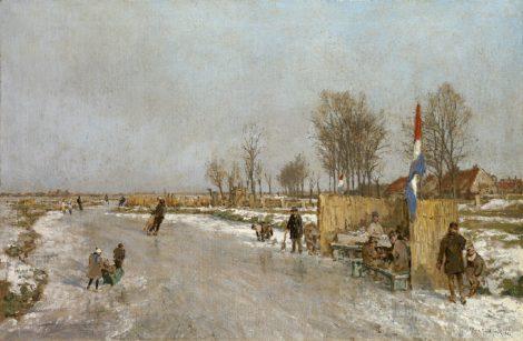 Johan Hendrik van Mastenbroek - IJsvreugde op Holland's vaarten, olieverf op doek 47,2 x 71,2 cm, gesigneerd rechtsonder en gedateerd 1933