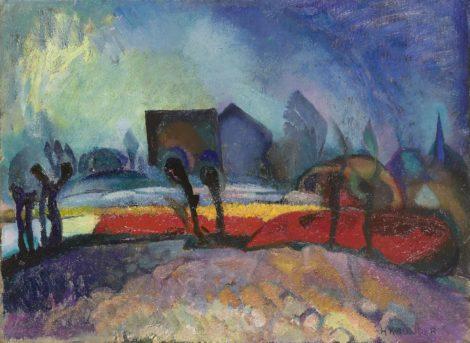 Herman Kruyder - Bollenveldjes, olieverf op doek 41,9 x 56,3 cm , gesigneerd rechtsonder en te dateren ca. 1920