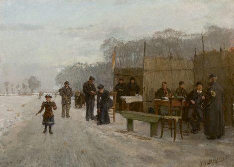 Johannes Gerardus Heijberg - Bij de koek-en-zopietent op het ijs, olieverf op doek 35,0 x 38,4 cm, gesigneerd rechtsonder