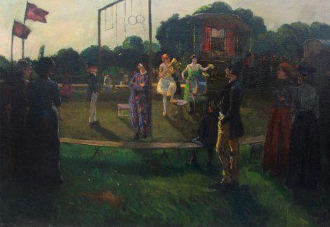 Amandus Faure - Reizend circus, olieverf op doek 90,5 x 130,0 cm, gesigneerd rechtsonder en gedateerd '05