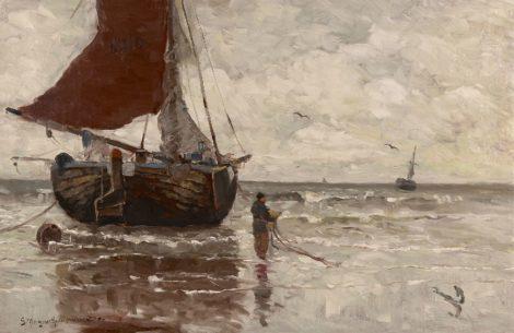 Morgenstjerne Munthe - Bomschuit voor anker, olieverf op doek 62,9 x 96,4 cm, gesigneerd linksonder