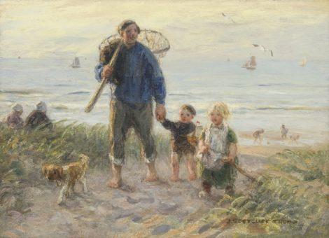 Jan Zoetelief Tromp - Door de duinen huiswaarts, olieverf op doek 41,0 x 56,2 cm, gesigneerd rechtsonder