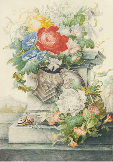 Herman Henstenburgh - Bloemstilleven met zuil en wapenschilden, aquarel op perkament op papier 36,6 x 25,3 cm