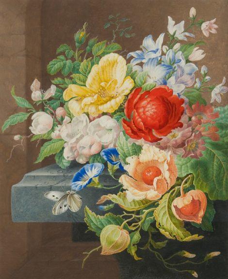 Herman Henstenburgh - Stilleven met bloemen en vlinder, aquarel op papier 31,0 x 25,5 cm, gesigneerd middenonder en te dateren ca. 1700