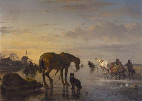 Josephus Jodocus Moerenhout - Paarden en sledes op het ijs, olieverf op doek 85,0 x 118,5 cm, gesigneerd rechtsonder
