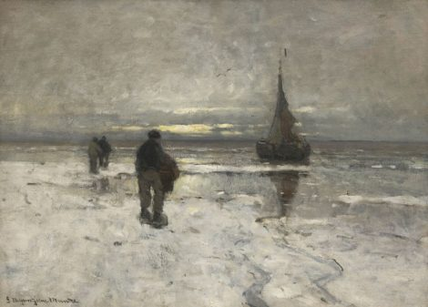 Morgenstjerne Munthe - Het strand bij winter, olieverf op doek 54,0 x 75,1 cm, gesigneerd linksonder
