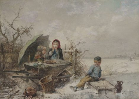 Mari ten Kate - Spelende kinderen op het ijs, aquarel op papier 25,4 x 35,1 cm, gesigneerd linksonder (met resten van signatuur)