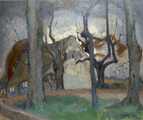 Germ de Jong - Boerenhuis in de winter, olieverf op doek 85,5 x 100,7 cm, gesigneerd rechtsonder en gedateerd 1919
