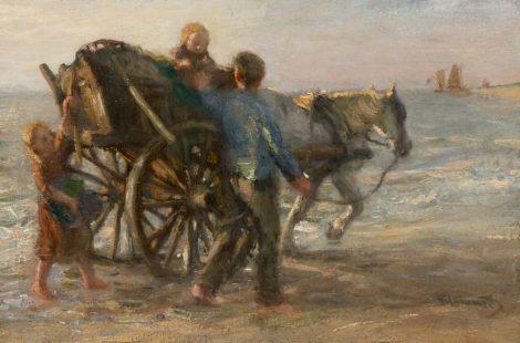 Bernard Blommers - Schelpenvisser met zijn kinderen op het strand, olieverf op doek 28,3 x 42,0 cm, gesigneerd rechtsonder