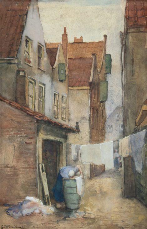 George Hendrik Breitner - Rotterdams steegje met wasvrouw, aquarel op papier 39,1 x 25,7 cm, gesigneerd linksonder en gedateerd '80
